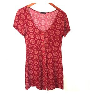 Brandy Melville Red Medallion Button Front Dress